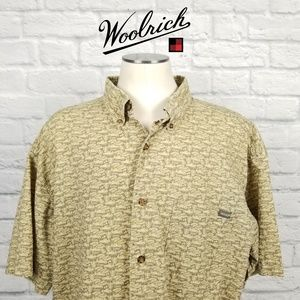 Woolrich Hawaiian Camp Shirt Jeeps Sz XL